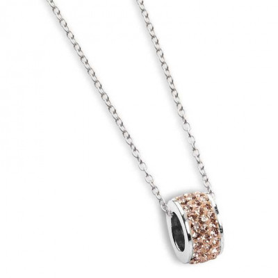Necklace with passing in rhinestones champagne