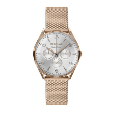 Clock multifunction vintage light pink with silver dial