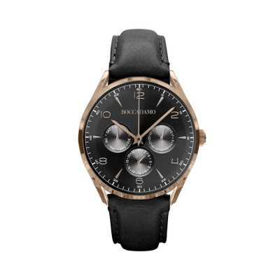 Clock multifunction vintage with a leather strap and black dial