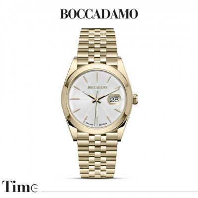 Yellow gold-colored date watch
