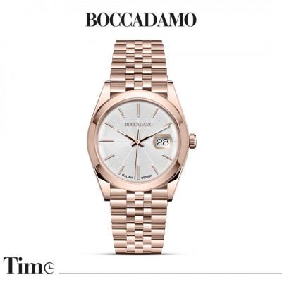 Rose gold-colored date watch