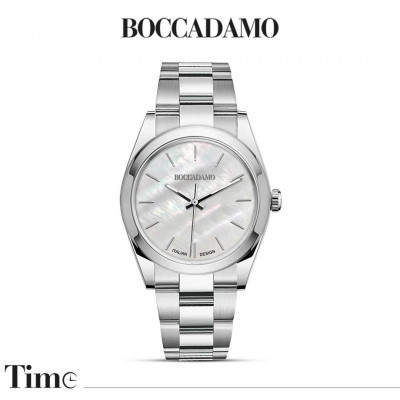 Silver watch with mother of pearl dial