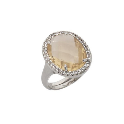Ring cocktail with crystal briolette champagne and zircons