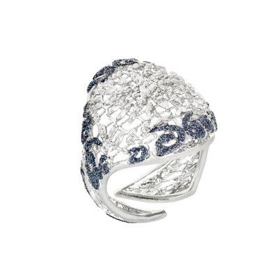 Ring with decoration in glitter bicolor