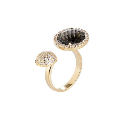Open Ring with zircons and crystal smoky quartz