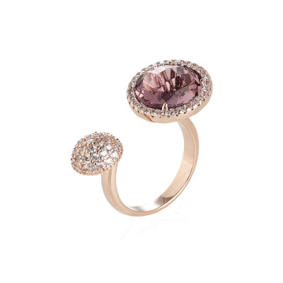 Open Ring with zircons and crystal amethyst