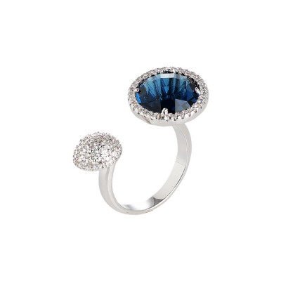 Open Ring with zircons and crystal Montana
