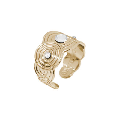 Band Ring Gold Plated yellow with decorations inspired by Maya and Swarovski
