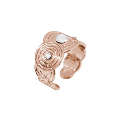 Band Ring Gold plated pink with decorations inspired by Maya and Swarovski