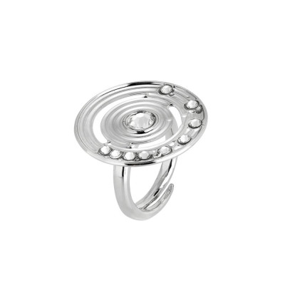 Ring with circular base concentric and Swarovski