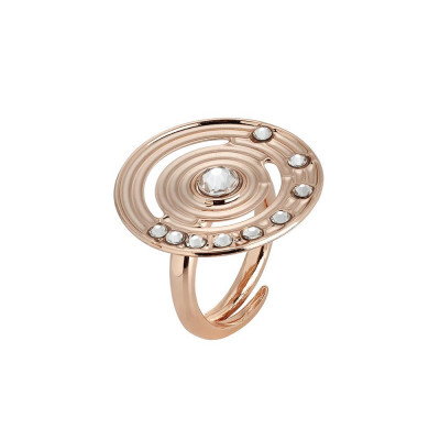 Plated ring pink gold with circular base concentric and Swarovski