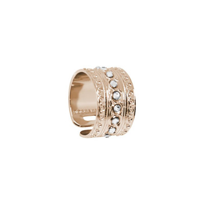 Band Ring Gold plated pink with Etruscan processing and Swarovski
