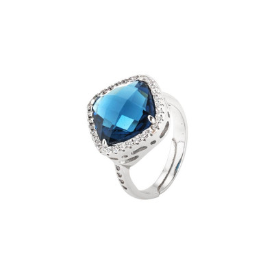 Ring with briolette crystal blue montana and zircons