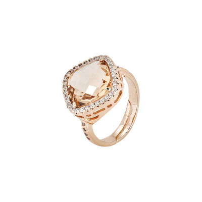 Ring with crystal briolette peach and zircons