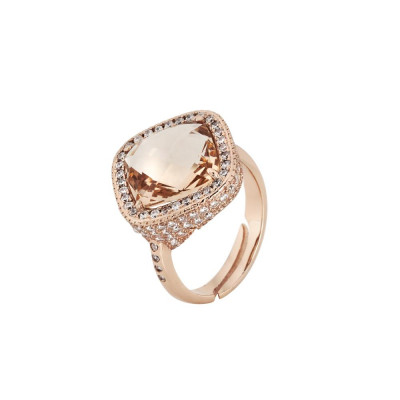 Ring with crystal briolette peach and pavèdi zircons