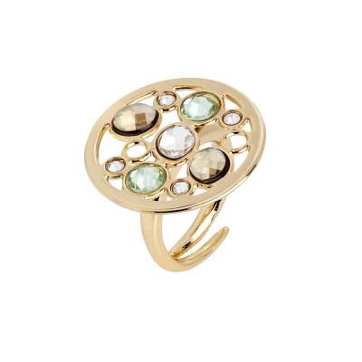 Ring circular base with Swarovski crystal, chrysolite, gold