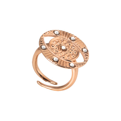 Rose gold plated ring with eye of Horus and Swarovski