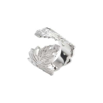 Rhodium-plated band ring with oak leaf