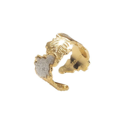 Yellow gold plated band ring with oak leaf and glitter