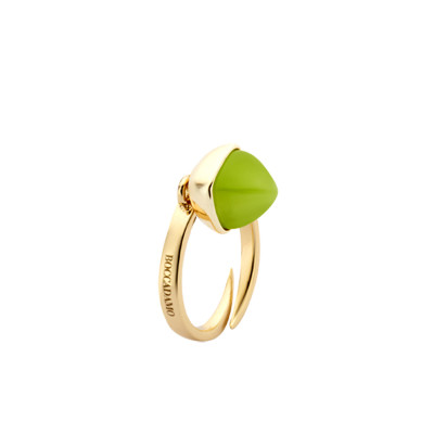 Ring with olivine colored crystal