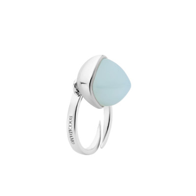 Rhodium-plated ring with aquamarine crystal