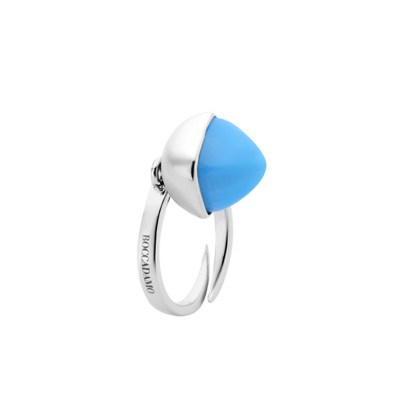 Rhodium-plated ring with chalcedony-colored crystal
