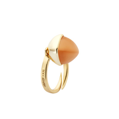 Yellow gold plated ring with carnelian colored crystal