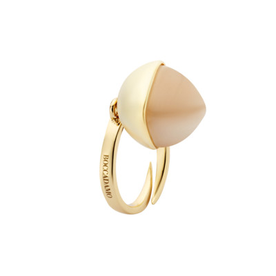 Ring with moonstone colored pendant crystal