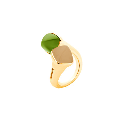 Opposite ring with carnelian and olivine crystals