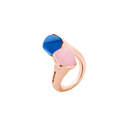 Contrari ring with chalcedony and rose quartz crystals