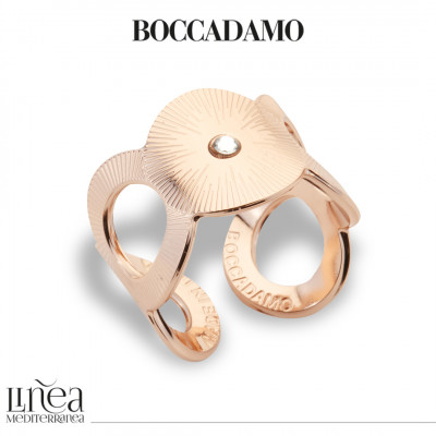 Rose gold plated band ring with Swarovski