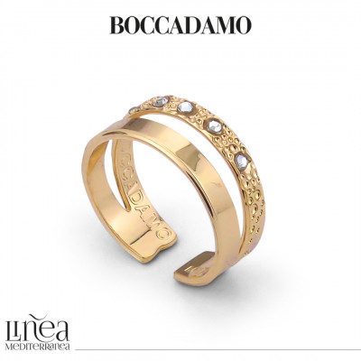 Double band yellow gold plated ring with Swarovski