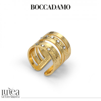 Double wide band ring yellow gold plated with Swarovski