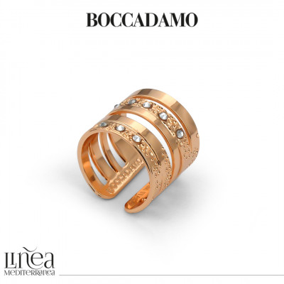 Double wide band ring rose gold plated with Swarovski