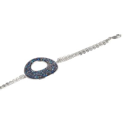 Bracelet double wire with central in Swarovski crystal rock bermuda blue
