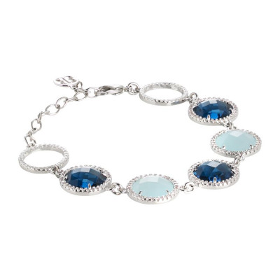 Bracelet with crystals Montana and aquamilk and zircons