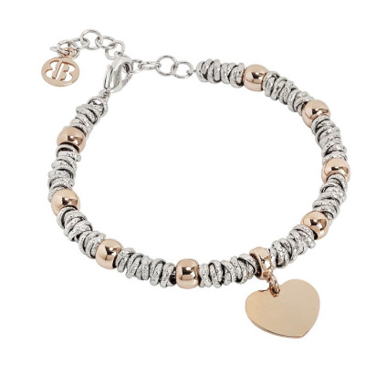 Bracelet bicolor with heart rosato