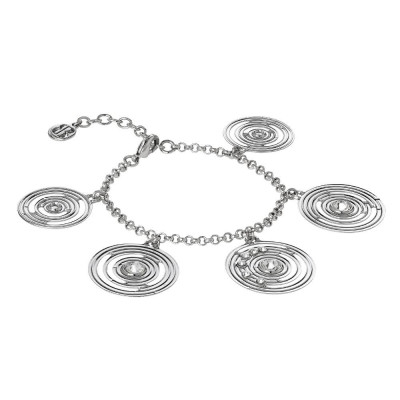 Bracelet rodiatos with pendant concentric and Swarovski