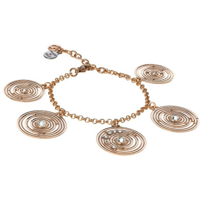 Plated Bracelet pink gold pendant with concentric and Swarovski