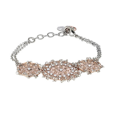 Bracelet bicolor with central decoration in bas-relief and Swarovski