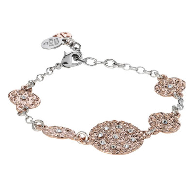 Bracelet bicolor with modules in bas-relief and Swarovski