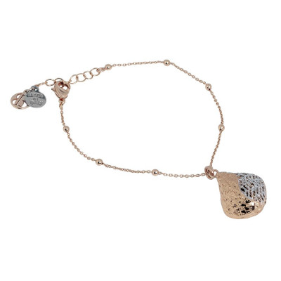 Plated Bracelet pink gold in electrofusion with rhomboidal pendant