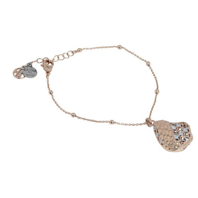 Plated Bracelet pink gold in electrofusion with glitter silver