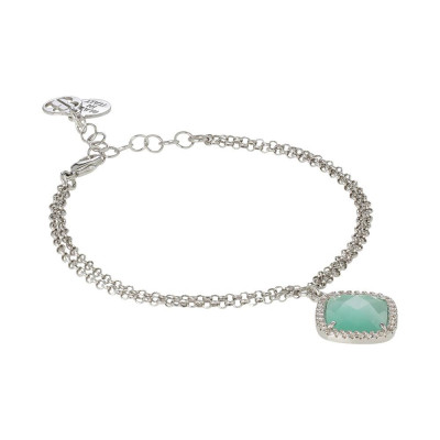 Bracelet with crystal briolette green mint and zircons