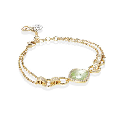 Bracelet double wire with crystal chrysolite and zircons