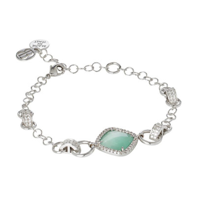 Bracelet with briolette central green mint and zircons