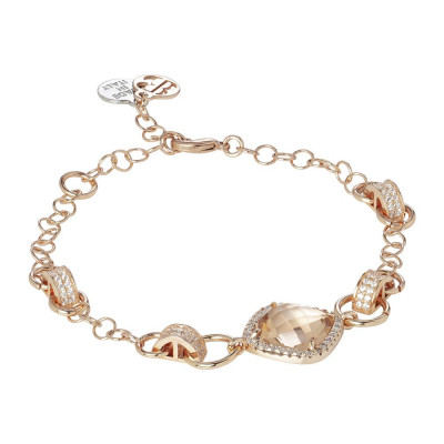 Bracelet with central briolette peach and zircons