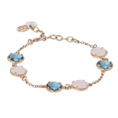 Bracelet with pink quartz milk and crystal sky