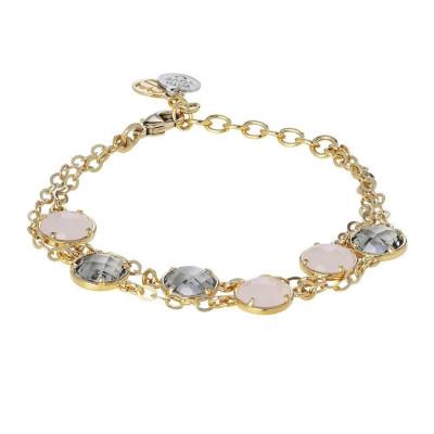 Bracelet double wire with crystals fumèe pink quartz milk