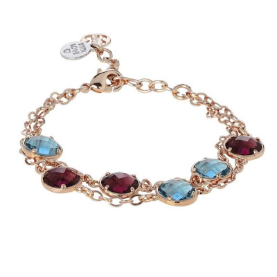 Bracelet double wire with crystals amethyst and sky